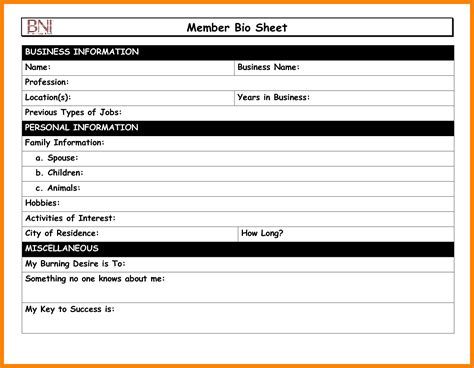 members page template 8 biography sheet template cna resumed