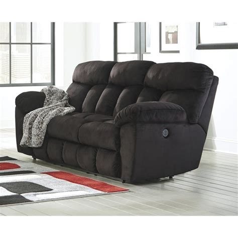 Black Fabric Reclining Sofa Saul Fabric Reclining Power Sofa In Black 2230187