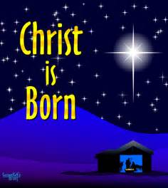 Christian faith art christ is born night scene with stable and star