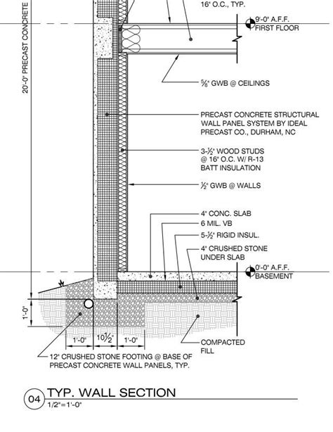 section detail drawing concrete wall section detail architecture pinterest