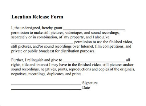 location release form template 20 location release form templates to sle