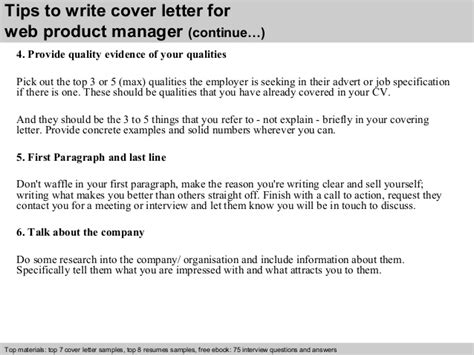 product manager cover letter web product manager cover letter