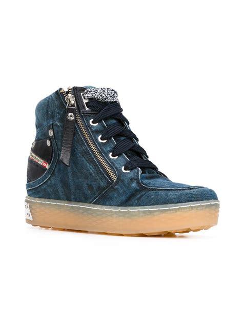 diesel high top shoes diesel denim hi top sneakers in blue lyst