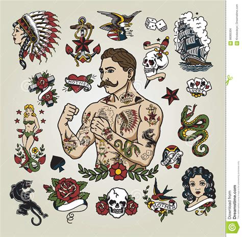 tattoo flash set tattoo hipster man and various tattoo