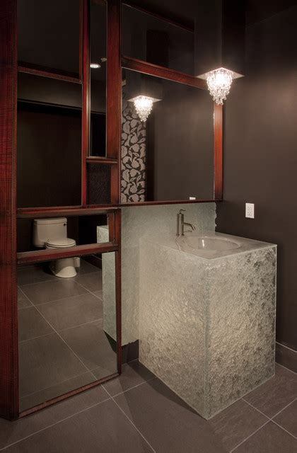 modern powder room vanity glass powder room vanity in escala penthouse contemporary powder room seattle by