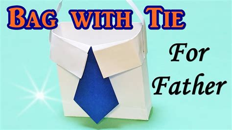 Fathers Day Paper Crafts - origami bag shirt with tie for s day gift diy