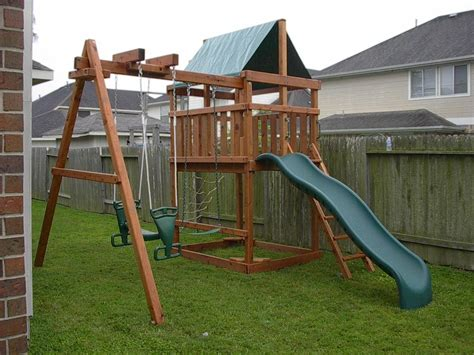 backyard swing set plans how to build diy wood fort and swing set plans from jack s