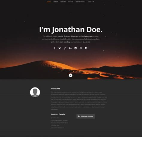 Free Resume Website Template by 21 Professional Html Css Resume Templates For Free