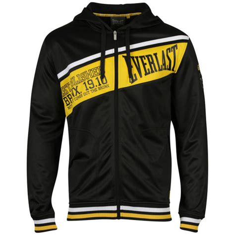 Hoodie Logo Everlast 1 everlast s diagonal tricot zip through hoody black yellow mens clothing zavvi