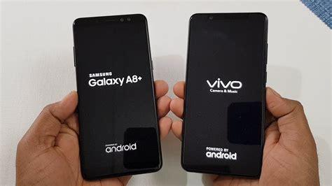 Samsung A10 Vs Vivo 91i by مقارنة الاداء الاعلى لهاتفين Samsung Galaxy A8 2018 Vs Vivo V7 وادارة النظام والرام