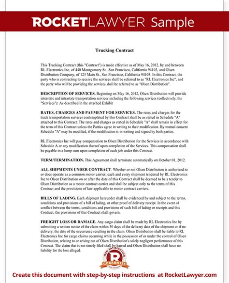 terms and conditions template usa trucking contract template independent contractor