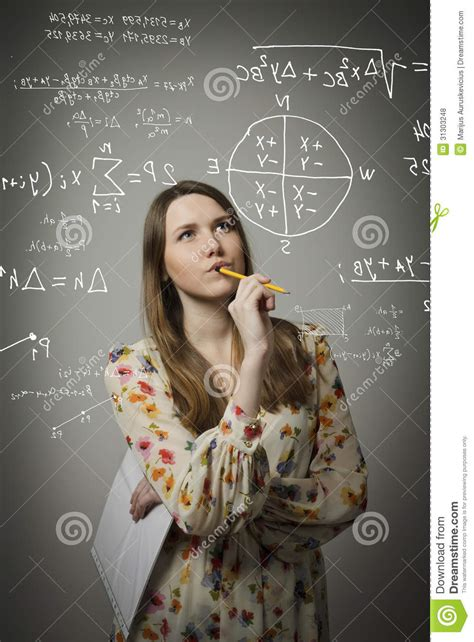 girl solving equation royalty  stock  image