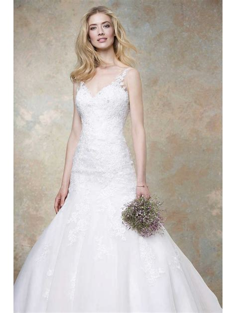 Ellis Designer Wedding Dresses by Ellis Bridals 11452a Lace Fit And Flare Bridal Gown Ivory