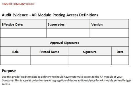 Accounts Receivable Access Definitions Accounting Templates Accounts Receivable Access Template