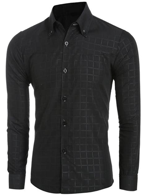 grid pattern shirt grid pattern long sleeve men s button down shirt black m