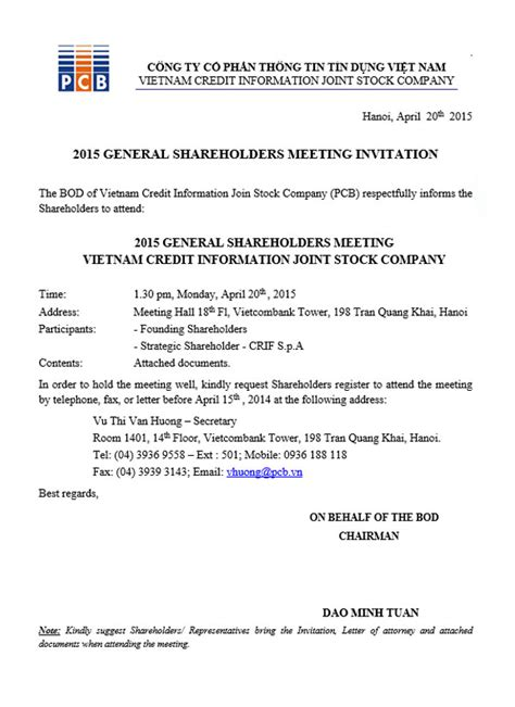 Invitation Letter For Shareholder Meeting 2015 General Shareholders Meeting Invitation