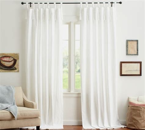 window treatments pottery barn textured cotton tie top drape pottery barn white