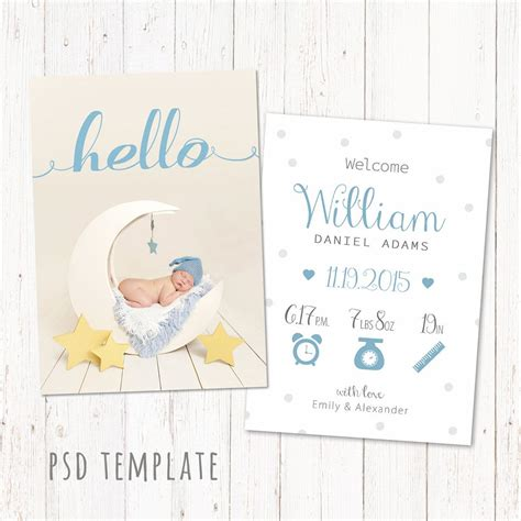 Baby Card Template Photoshop by Birth Announcement Template Card Digital Baby Boy Birth
