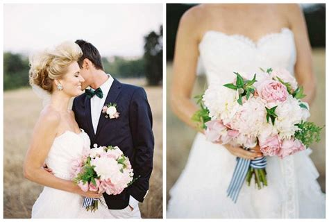 Wedding Bouquet With Ribbon by Ivory And Pale Pink Peony Wedding Bouquet With Striped Ribbon
