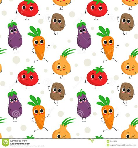 cute eggplant pattern cute seamless pattern with happy vegetables stock vector