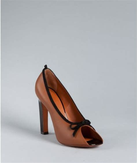 tan suede peep toe pump celine tan leather suede bow peep toe pumps in brown tan