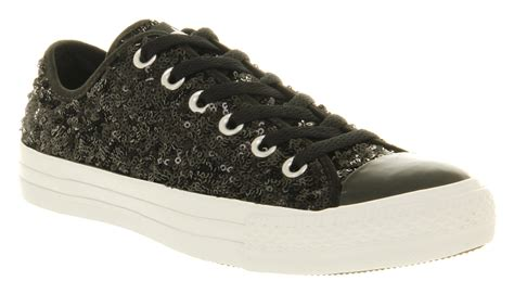 black sequin converse sneakers converse all ox low black multi sequin smu trainers