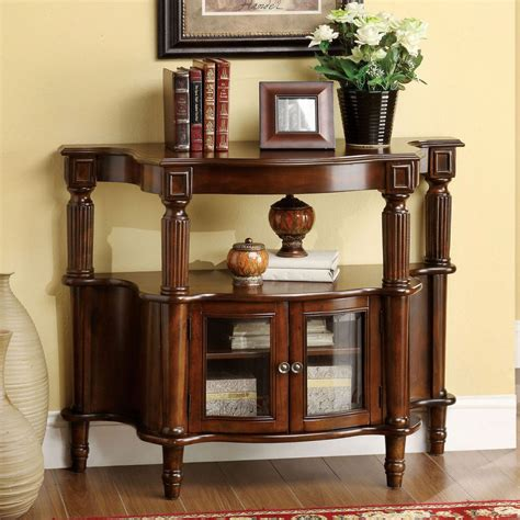 entryway table furniture of america antique walnut