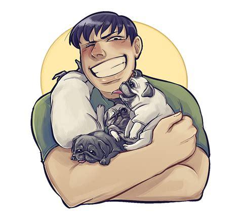 anime pug pug hug by evillittlecherry on deviantart