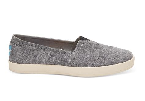 slip on shoes black slub chambray s avalon slip ons toms 174