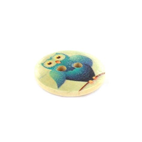 Owl Wooden Button owl wooden button rounded shaped clara multicolored