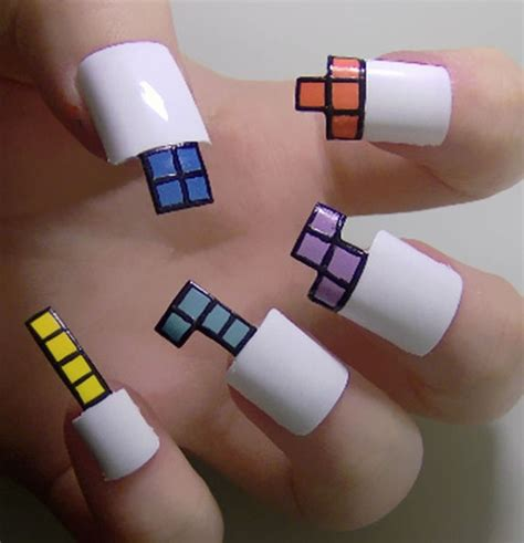 design nails game geometric video game nails video game nail