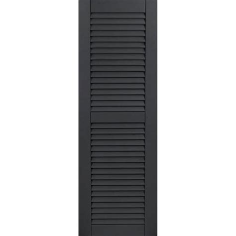 Louvered Doors Exterior Ekena Millwork 18 In X 60 In Exterior Composite Wood Louvered Shutters Pair Black Cwl18x060blc