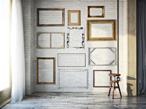 3d interior rustic wood floors and orange walls download 3d house abstract interior of assorted classic empty picture frames