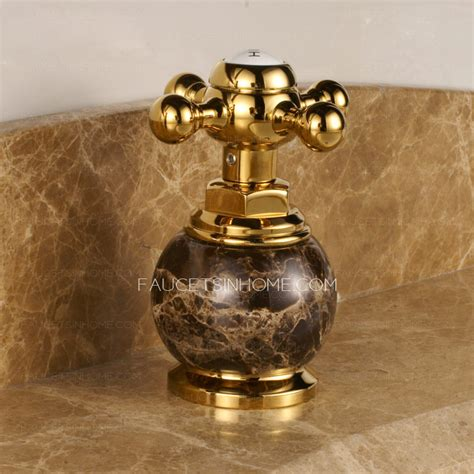 antique gold marble handle three bathroom sink faucet