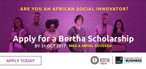 Uct Mba Scholarships by Uct Gsb Bertha Center For Social Innovation And