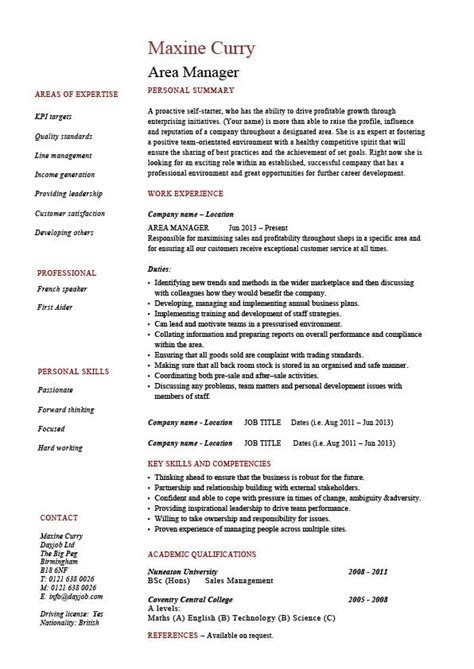 resume format for area service manager area manager cv template management resume managerial