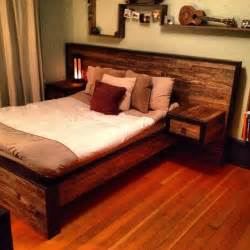 Wooden Bed Frame Designs Headboad With Nightstand Diy For The Home
