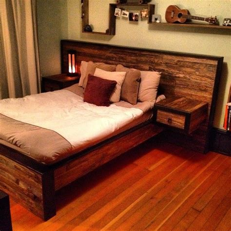 Wood Bed Frame Designs Headboad With Nightstand Diy For The Home Pinterest Guest Rooms Built Ins And Barn Wood