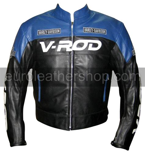 Jam Harlay Davidson Leather Black Blue v rod harley davidson motorcycle leather jacket blue black colour