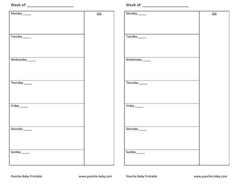 printable undated planner pages free printable planner page a5 week on one page undated