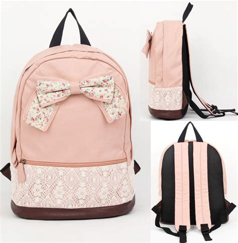 Girly Backpack colors light pink beige brown material leather canvas