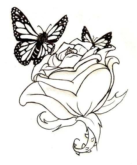 rose tattoo with butterfly butterfly roses lineart and butterflies by