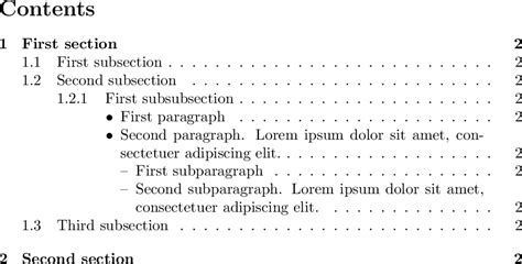 section subsection paragraph sectioning numbers and bullets in table of contents