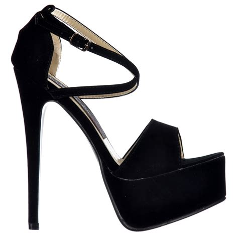 black strappy high heels shoekandi cross strappy stiletto platform high heel