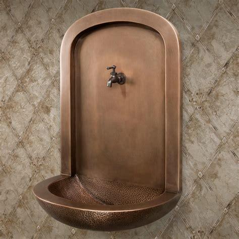 copper wallmount niche fountain sink outdoor