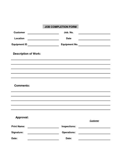 Completion Form Template best photos of completion report template completion form template project completion
