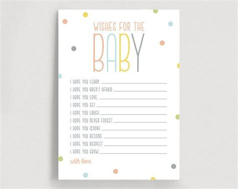 baby shower wish cards template wishes for baby well wishes printable shower wishes