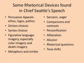 Rhetorical Devices Essay Exles by Chief Seattle Rhetorical Devices Prompt