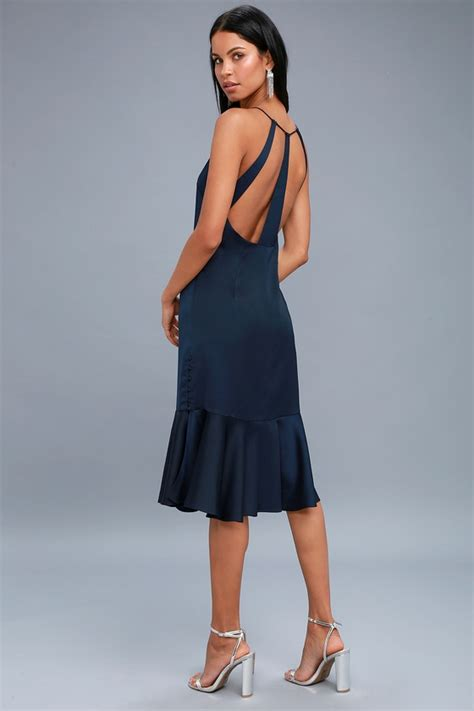 alston navy blue satin midi dress shopperista