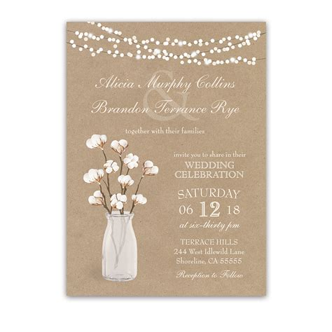 Wedding Invitation Paper by Rustic Kraft Paper Wedding Invitation Cotton Branches